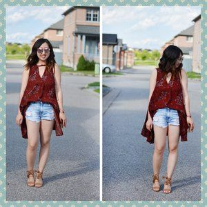 Free People Burgundy Floral Tunic